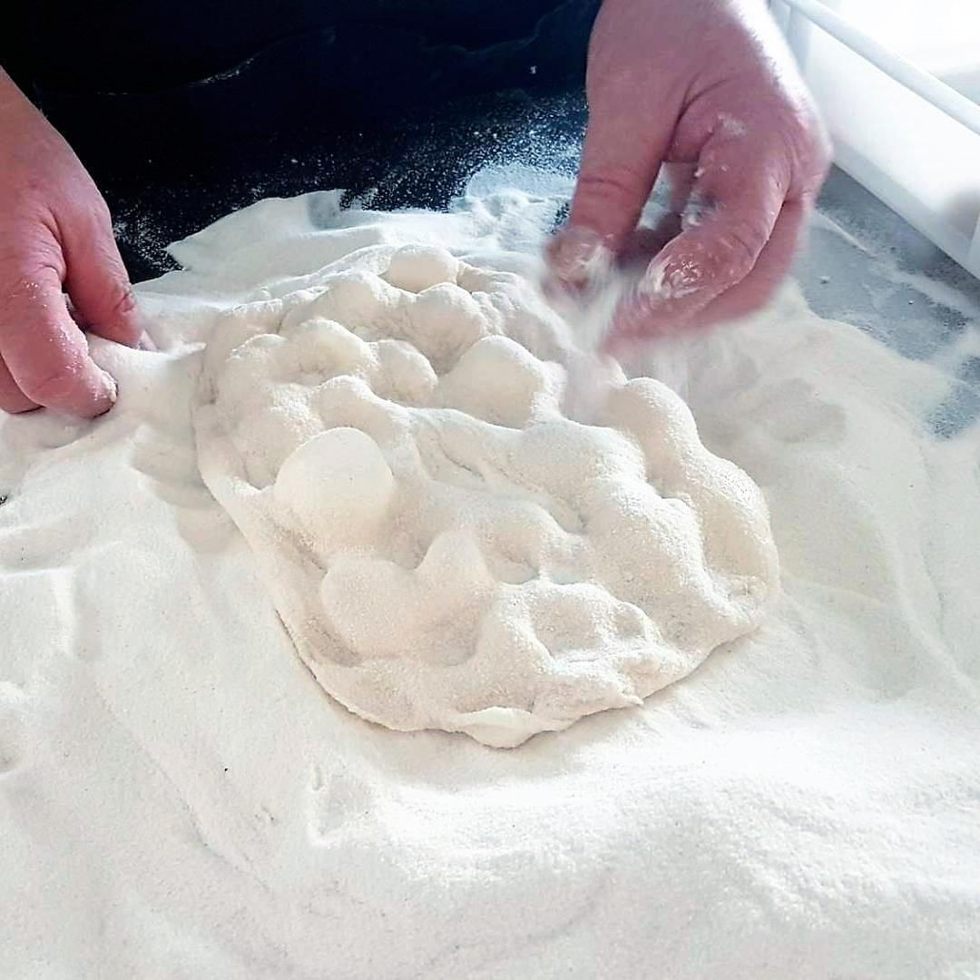 Pinsarella chef Making pinsa dough. Italian Baker