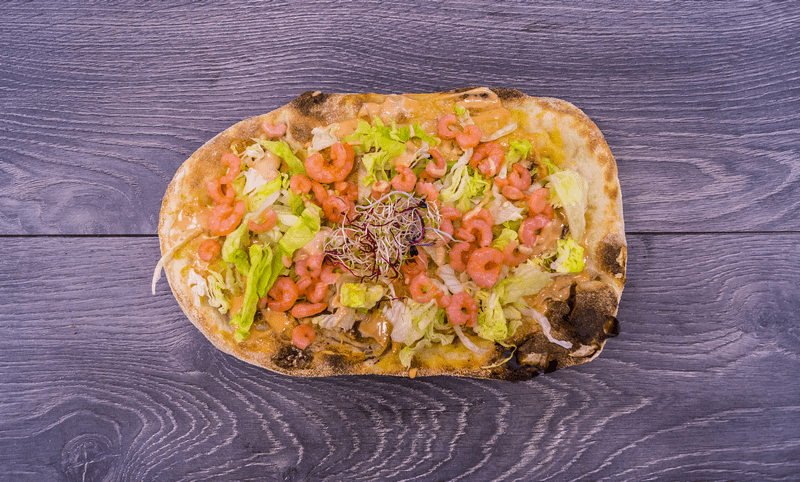 Pinsa Gamberina with Shrimps Salad