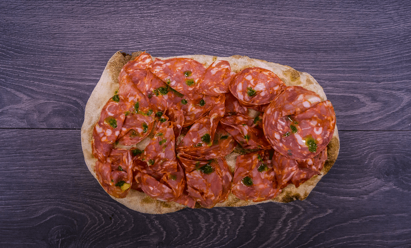 pinsa calabrese with spicy salami from Calabria