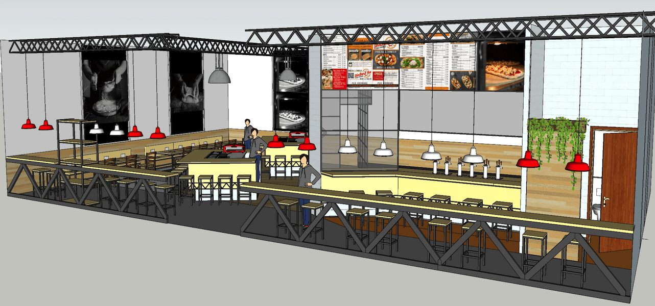 pinsarella rendering pizzeria franchising